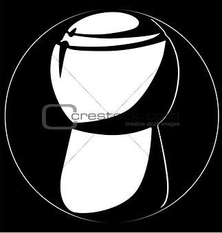 champagne cork vertically logo black background