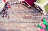 closeup of beautiful gingerbread houses at home