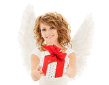 happy young woman with angel wings and gift box