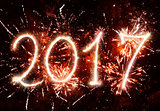 2017 New Year with sparkle and fireworks