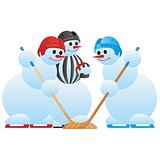Hockey players and hockey referee