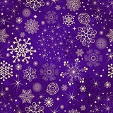 Winter violet seamless pattern with gold snowflakes