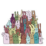 Funny rabbits family for your design