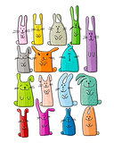 Funny rabbits collection for your design