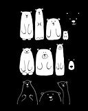 Funny white bears family, sketch for your design
