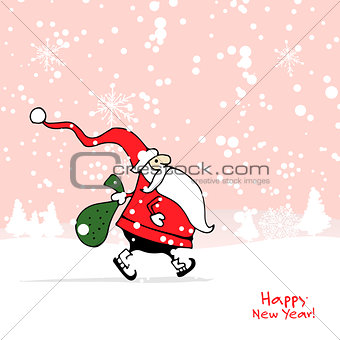 Santa Claus in winter forest. Christmas card