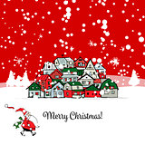 Merry christmas postcard with cityscape background