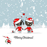 Happy couple in winter forest. Christmas card