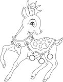 Christmas Deer Coloring Page