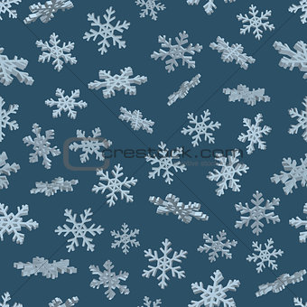 3D snowflakes. Blue seamless background