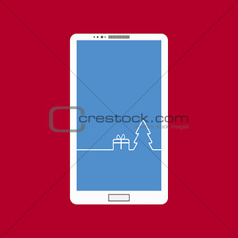 Flat vector illustration of modern smartphone touchscreen with a picture of the Christmas Design interface. Merry Christmas background with Christmas tree and gift.