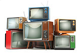 Heap of retro TV sets isolated on white background. Communicatio