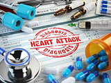Heart attack diagnosis.. Stamp, stethoscope, syringe, blood test