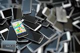 Choose mobile phone. Heap of the different smartphones and one w