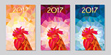 symbol 2017 fire cock poligonal background three different color
