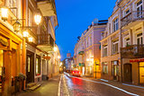 Pilies Street at night, Vilnius, Lithuania