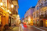 Pilies Street at night, Vilnius, Lithuania