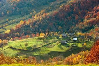 Autumn in mountain village