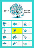 Marine tree. Design calendar 2017