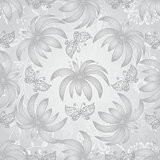 Vintage seamless pattern with gradient silvery flowers