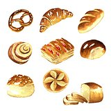Watercolor, bread clipart