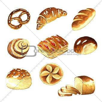 Watercolor, bread clipart