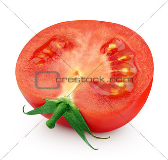 One half of red tomato on white