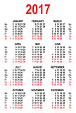 Calendar 2017 grid template