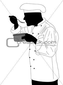 kitchen chef tasting sauce illustration