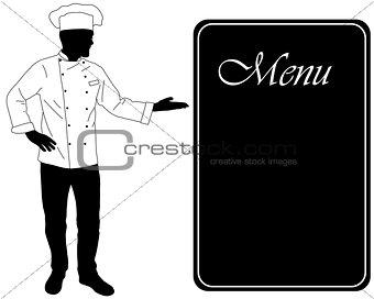 kitchen chef offers dinning menu silhouette