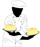confectioner holding two cakes