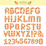 Orange special font, abc a-z capital headline letters, vector