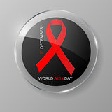 December World Aids Day glass button.