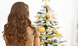 Young woman standing in front of christmas tree . rear view