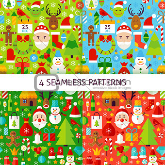 Four New Year Seamless Patterns