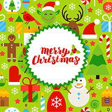Flat Merry Christmas Postcard
