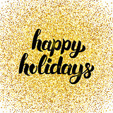 Happy Holidays Gold Poster