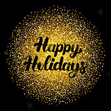 Happy Holidays Lettering over Gold