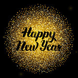 Happy New Year Lettering over Gold