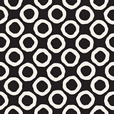 Vector Seamless Black and White Hand Drawn Circles Pattern