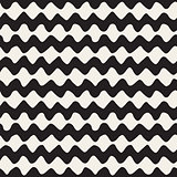 Vector Seamless Black and White Hand Drawn Wavy Zigzag Lines Pattern
