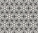 Vector Seamless Hexagon Rounded Grid Pattern