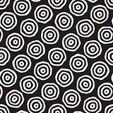 Vector Seamless Black and White Hand Drawn Concentric Circles Pattern