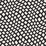 Vector Seamless Black and White Hand Drawn Diagonal Rectangles Lines Pattern