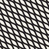 Vector Seamless Black and White Hand Drawn Diagonal Wavy Shapes Pattern