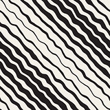 Vector Seamless Black and White Hand Drawn Diagonal Wavy Stripes Pattern