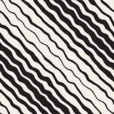Vector Seamless Black and White Hand Drawn Diagonal Wavy Stripes Pattern