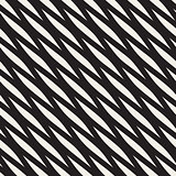 Vector Seamless Black and White Diagonal Wavy Shapes Pattern