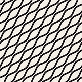 Vector Seamless Black and White Wavy Diagonal Lines Pattern