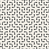 Jumble Rounded Lines. Vector Seamless Black and White Pattern.